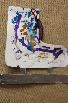 I is for Ice Skate. Creative work and lacing to build fine motor.