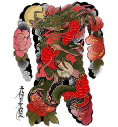 Dragon and peonies Full Body Tattoo, Body Tattoos, Back Tattoo, Japan Tattoo, Japanese Tattoo Art, Japanese Sleeve Tattoos, Tattoo Studio, Chinese Tattoo Designs, Dragon Tattoo Art