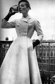 Strict structured buttoned coat  from 1955