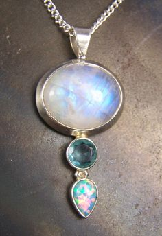 Moonstone Blue Topaz Fire Opal Sterling Silver by CoyoteRainbow, $40.00