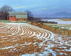 """John Sloane -- """"First Light"""" - Whatever time a country day begins, a farmer's day begins even earlier. On a farm, there's always something to do and never enough time to do it all. A Robin in the snowy field cheerfully proclaims the arrival of Spring."""