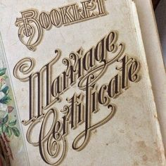 Marriage Certificate typography