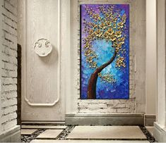 Technology Will Save Us Gamer DIY Kit Vertical Paintings Gold Flower Tree Canvas Art Decor Living Room – AsdamArt 3d Canvas Art, Tree Canvas, Abstract Wall Art, Acrylic Painting Canvas, Wall Canvas, Large Wall Art Cheap, Artwork For Living Room, Affordable Wall Art, Oil Painting Flowers