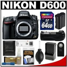 Nikon D600 Digital SLR Camera Body with 64GB Card + Grip + Battery & Charger + Remote + Accessory Kit - http://electmecameras.com/camera-photo-video/digital-cameras/digital-slr-camera-bundles/nikon-d600-digital-slr-camera-body-with-64gb-card-grip-battery-charger-remote-accessory-kit-com/