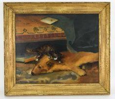 JOHN HABERLE (AMERICAN 1856-1933) O/C Cat on bear rug. Fierce!