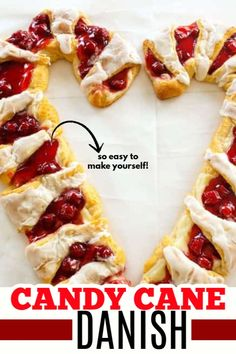 Crescent rolls cream cheese filling and cherry pie filling turned into a fun candy cane shaped danish for Christmas morning! Crescent rolls cream cheese filling and cherry pie filling turned into a fun candy cane shaped danish for Christmas morning! New Year's Desserts, Cute Desserts, Christmas Desserts, Christmas Treats, Dessert Recipes, Christmas Candy, Christmas 2019, Simple Christmas, Christmas Stuff