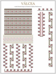 Semne Cusute: model iie Valcea Embroidery Sampler, Folk Embroidery, Learn Embroidery, Embroidery Patterns Free, Beading Patterns, Cross Stitch Patterns, Machine Embroidery, Knitting Patterns, Modern Embroidery