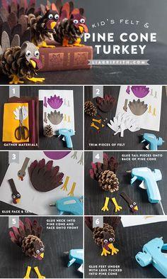 Kids Crafts: Felt and Pinecone Turkeys