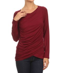 Look what I found on #zulily! Burgundy Cross Front Drape Top by One Fashion #zulilyfinds