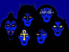All Makeup Era Members: [Top Row; L-R] Gene Simmons, Eric Carr, Ace Frehley, Peter Criss. L-R] Vinnie Vincent, Paul Stanley Eric Singer, Kiss Rock Bands, Kiss Members, Vinnie Vincent, Eric Carr, Vintage Kiss, Kiss Art, Paul Stanley, Hot Band
