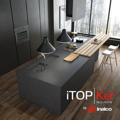 Kitchen countertop made of Domo iTOPKer Negro colour and Bush-hammered finish.