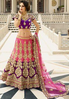 Bruna Abdullah Cherry Pink and Violet Designer Lehenga Choli - Lehenga Choli - Women