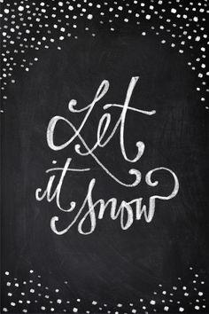 Chalkboard Art - Let it Snow Art Print
