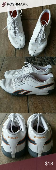 🔰REEBOK WALKING SNEAKER🔰 White with gray and orange trim Work 1 or 2 times as seen in pic of bottom Perfect with jeans for a night out No tips, stains or tears Smoke free home Reebok Shoes