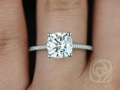 Marcelle 8mm 14kt White Gold Cushion FB Moissanite by RosadosBox