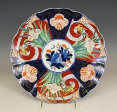Japanese Imari Porcelain Plate with Iris and Waterfowl