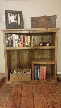 wooden asymmetrical bookshelf #rustic #wood #markelwoodwoodwork