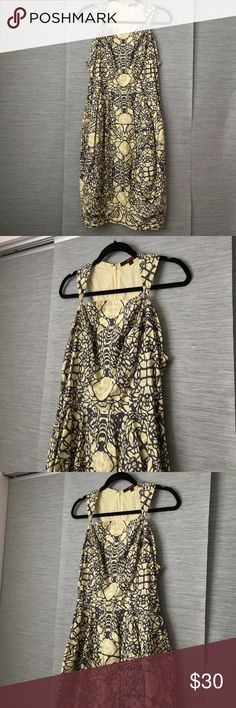 Fish fry ANTHROPOLOGIE grey yellow cotton dress 100% cotton. Grey and yellow. Side Zip entry. Flawless like new Anthropologie Dresses