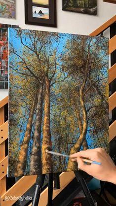 Canvas Painting Tutorials, Diy Canvas Art, Painting Tools, Painting Art, Forest Painting, Acrylic Painting Inspiration, Acrylic Painting Lessons, Acrylic Painting Trees, Acrilic Paintings