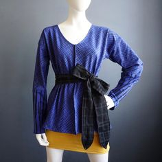 Double Dare – iheartfink Womens Handmade Top Long Sleeve Blue Black Art Print Shirt