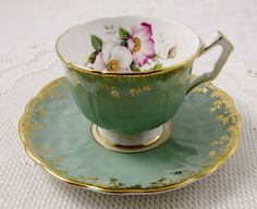 Aynsley Tea Cup and Saucer, Green with Flowers, Antique Tea Cup, Bone China