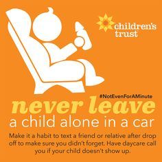 Did you know that HALF of child hot car deaths are from a caregiver forgetting that there was a child in the car? While many parents think it might never happen to them, there are some tips and habits that can help ensure that it never does. The best we can do, together, is to SPREAD THE WORD. Check out our #NotEvenForAMinute campaign page for graphics to use on social media.
