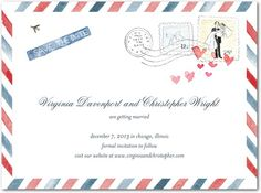 Air Mail - Signature White Textured Save the Date Cards - Petite Alma - Red Lantern - Red : Front