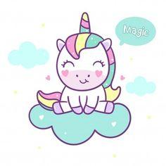 Cute unicorn vector sit on cloud Premium Vector Cute Unicorn, Unicorn Party, Kawaii Drawings, Easy Drawings, Unicorn Wallpaper Cute, Unicornios Wallpaper, Cute Little Drawings, Unicorn Quotes, Unicorn Drawing