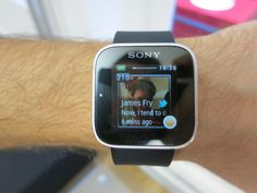 The Sony SmartWatch, the successor to the Sony Ericsson LiveView adds touch functionality to a wrist watch. Smart Watch, Sony, Twitter, Smartwatch