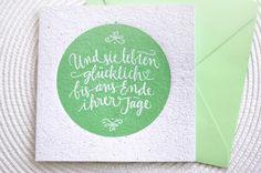 Script Wedding Greeting Card, stamped Hochzeit Glückwunschkarte, stempel, Recycling Papier, handgeschöpft