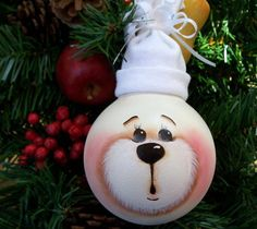 Hand Painted Light Bulb White Bear Christmas Ornament