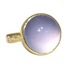 Robin Waynee Glowing Blue Violet Chalcedony Diamond Bubble Ring