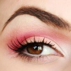 Pink and pale peach eye makeup