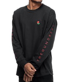 Stay ahead of the trend curve by grabbing The Hundreds Rose Fill Slant Long Sleeve Black T-Shirt. This shirt has screen print graphics on the front left chest, along each sleeve, and upper back. The front left chest has a small graphic of a rose while the