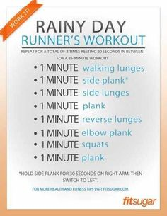 rainy day runner's workout Did this before my zumba class, and It was the perfect combo!  I will be doing this every zumba day!