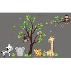 "Baby Nursery Wall Decals Safari Jungle Childrens Themed 83"" X 138"" (Inches) Animals Trees Monkey Elephant Giraffes Tigers Owls Wildlife Made of Seramark Material Repositional Removable Reusable"