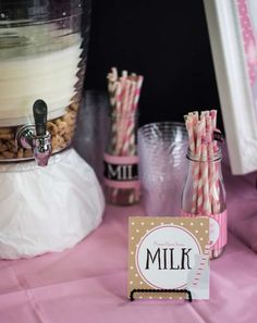 Aubrey's Milk and Cookies 1st Birthday | CatchMyParty.com