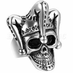 Mens Gothic Punk Funny Clown Skull Skeleton Biker Ring Stainless Steel Size 7-12 #Unbranded #Band