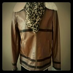 Bomber Jacket Brown faux-leather jacket with dark brown suede stripes and soft cream colored faux-fur unknown  Jackets & Coats