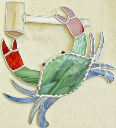 Stained glass crab for garden, beach house, tiki bar. Sea life hanging decoration Maryland blue crab Chesapeake Bay sun catcher window deco on Etsy, $38.00
