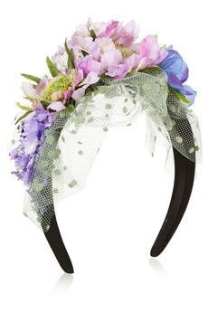 Piers Atkinson Flower-embellished satin and point d'esprit headband | NET-A-PORTER