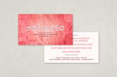 Coffee House Business Card Template: This vibrant design utilizes a bold serif font and punchy watercolor design reminiscent of spilled drinks. Perfect for a high energy coffee shop!