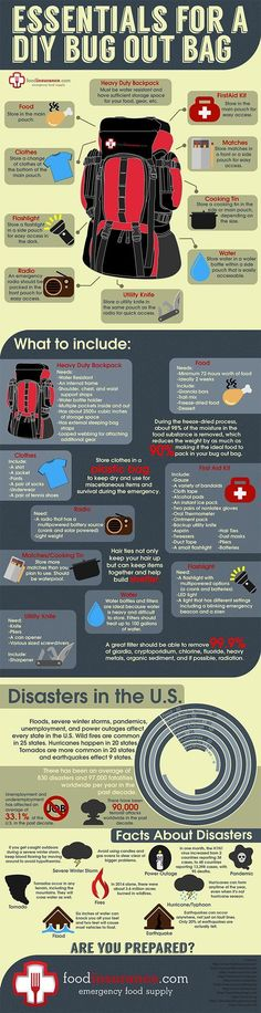 DIY Bug Out Bag Infographic | http://FoodInsurance.com