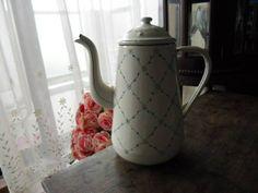 Enamel France フランスアンティークホーローコーヒーポットかわいい小花美品 インテリア 雑貨 家具 Antique ¥4900yen 〆05月20日