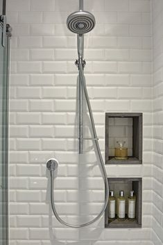 Bathroom Tile Ideas - Creative shower area with white metro wall tiles and recessed storage. The basalt edging finishes the recesses and creates visual detail. I Family Bathroom Design Loft Bathroom, Upstairs Bathrooms, Family Bathroom, Bathroom Renos, Bathroom Shelves, Bathroom Organization, Bathroom Renovations, Bathroom Interior, Small Bathroom