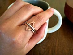 Hammered Solid Copper and Sterling Silver Minimalist Double Arrow Three Ring Stack by canvasandcrow on Etsy