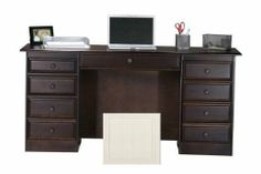 """Coastal Computer Desk with Double Pedestal Finish: Bright White by Eagle Industries. $803.00. 72453WPWH Finish: Bright White Features: -Made from birch wood.-1 keyboard/pencil drawer combo.-2 letter drawers.-1 file drawer.-1 CPU storage door.-Made in the USA. Color/Finish: -Non-finished back. Dimensions: -Overall Dimensions: 30.25"""" H x 64"""" W x 21"""" D. Collection: -Coastal collection. Warranty: -Manufacturer Warranty: 1 year for the case, 1 month for parts."""