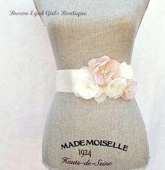 Blush Champagne and Ivory Bridal Sash, Blush Wedding Sash, Blush Wedding Belt by browneyedgirlsboutiq on Etsy https://www.etsy.com/listing/159725743/blush-champagne-and-ivory-bridal-sash