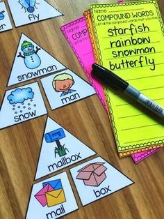 This Compound Words Printables and Activities Pack is designed for First and Second Grade students. There are 22 printables in total and 2 games for literacy centers/stations! The games are diverse in their difficulty so that you can c English Activities, Reading Activities, Teaching Reading, 2nd Grade Activities, First Grade Reading Games, Second Grade Games, Fun Classroom Activities, Phonics Activities, Work Activities