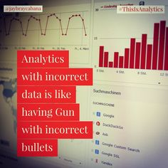 Analytics with wrong data is like having a gun with incorrect bullets. It will lead to a lot of wrong insights that can make your business suffer. Make sure to understand what you have and what you want to achieve.  Do you agree? #👍 or #👎 Leave a comment below or tag a friend to share the message to everyone. 👉👉Follow @jaybraycabana and #thisisanalytics for more posts about #analytics, #DigitalMarketing, #BusinessStrategy 👉 @J2E.Tech #Consulting Bullets, Bar Chart, Insight, Digital Marketing, Gun, Tech, Messages, Posts, Make It Yourself